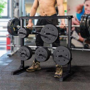 meuble de rangement de disques musculation en fonte
